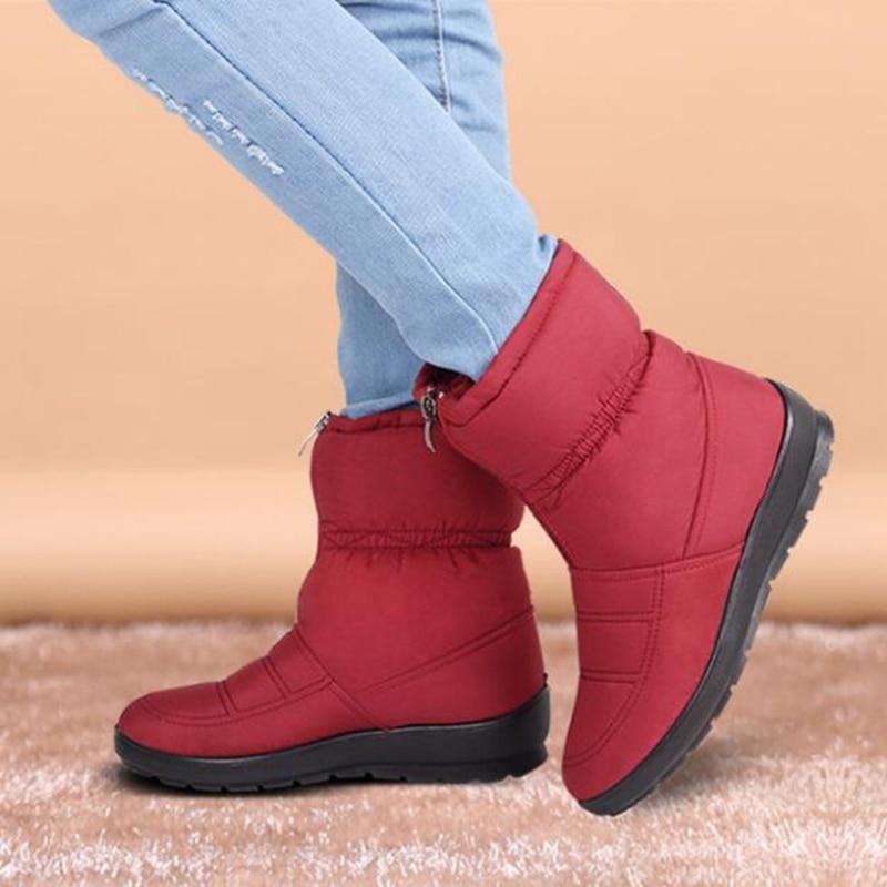 Bottes Noir Automne rouge La Imperméables Maxza vert marron Mère Chaudes Casual Peluche Coton D'hiver Dames bleu Courte Chaussures Neige Femmes Et fFtCqxFwa