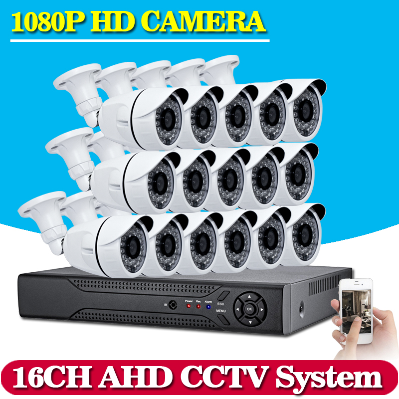 NINNVISION 16CH AHD DVR Hybrid 16 1080P AHD CCTV Kits Security Cameras Super Night Vision Home