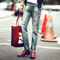 Men Brand Hole Jeans Pants Mens Full Length Straight Cowboy Pants Fashion Preppy Style Personalized Hole Trendy Jeans