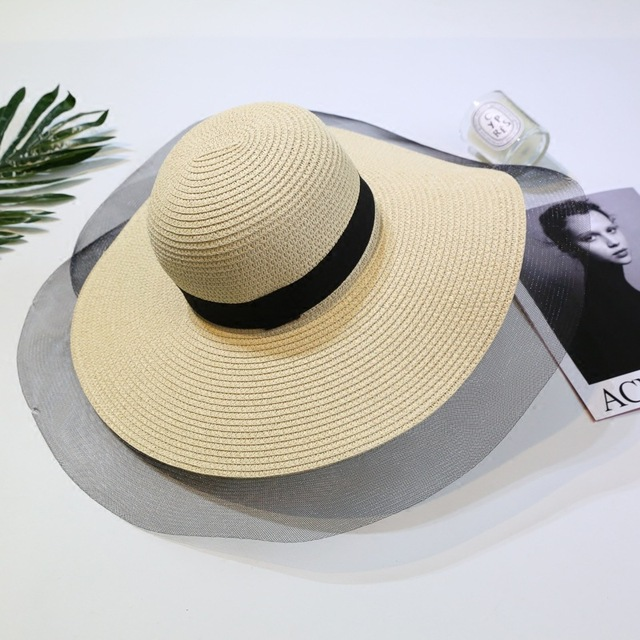 98de4fbd women summer Large Brim sun hats for girl fashion floppy straw hat Beach  chapeu feminino Folded Floppy Hat Bohemia Beach Cap