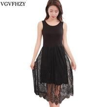 303fa5d8119bc Yaz Elbiseler yeni 2018 kadın moda Modal Elbise Kolsuz Rahat Bağbozumu  Gazlı Bez Artı Boyutu Siyah beyaz uzun elbise LY701