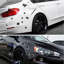 3D Realistic Bullet Hole Car Sticker Simulation Scratch Funny Decal Automobiles/Motorcycle Decoration Waterproof Stickers For speedwow 1pcs car stickers 3d bullet hole funny decal car covers motorcycle scratch realistic bullet hole waterproof stickers