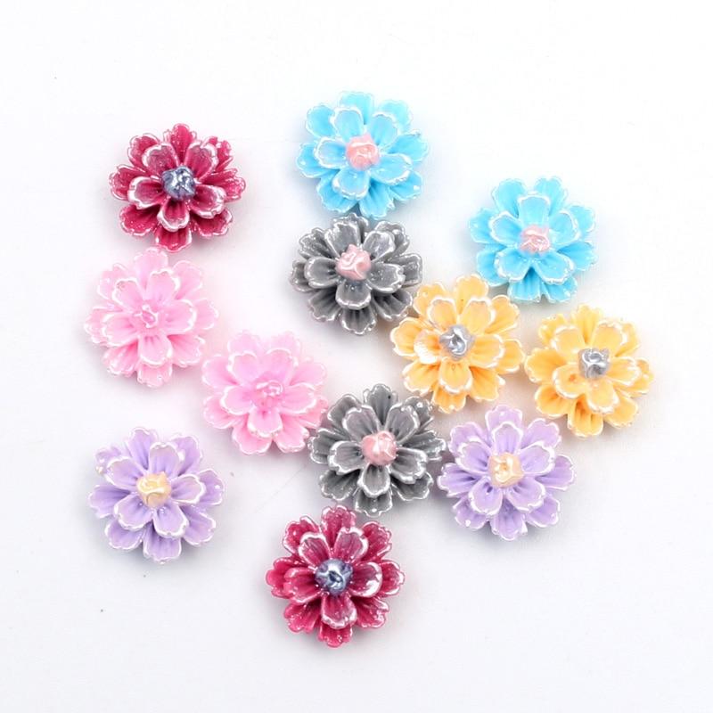 100Pcs Mixed Flower Paint Resin Crafts Christmas Decoration Flatback Cabochon Embellishment For Scrapbook DIY Accessories 12mm