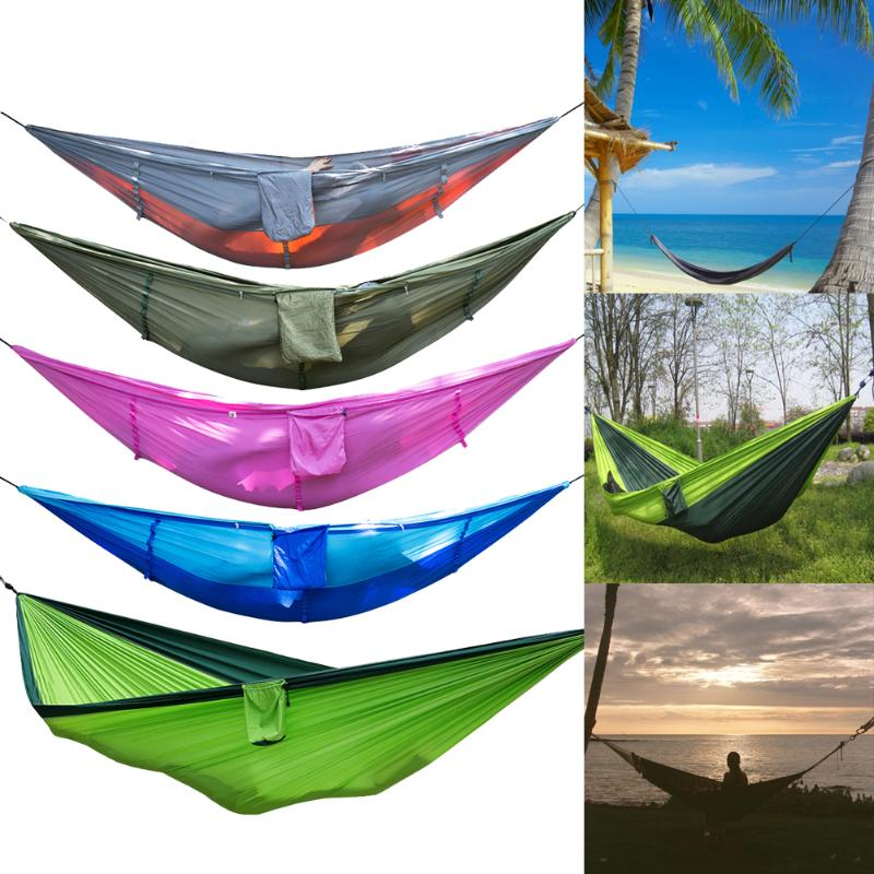 Portable Outdoor Camping Mosquito Net Nylon Hammock Hanging Bed Sleeping Swing Hanging Bed Leisure Travel Hammocks for Sleeping