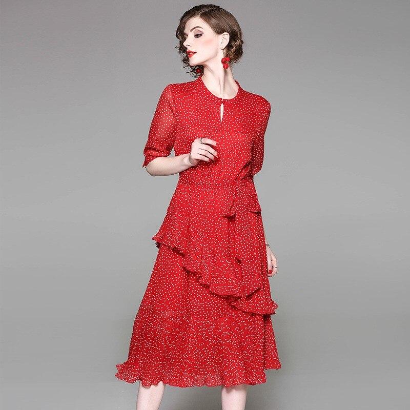 2018 Euramerican Spring New Fashion Chiffon Slim Fit O-Neck Collar Ruffles Red Basic White Spot Elegant Popular High-End Dress