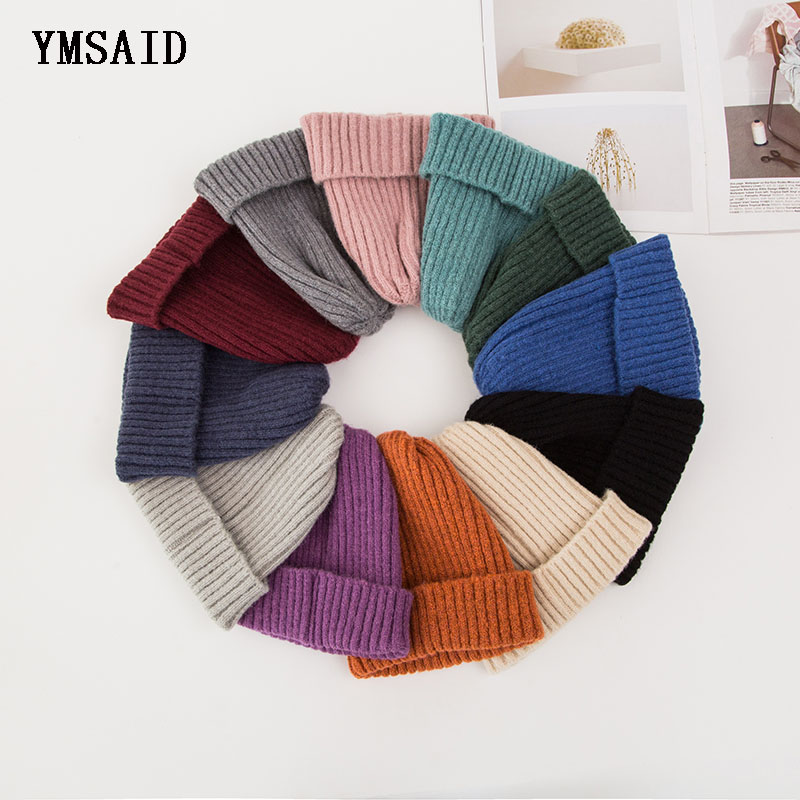 Ymsaid Women Solid ColorFor Autumn Winter Knitted  Fashion Hats 2017 New Arrival Casual Caps Good Quality Crimping Female Hat
