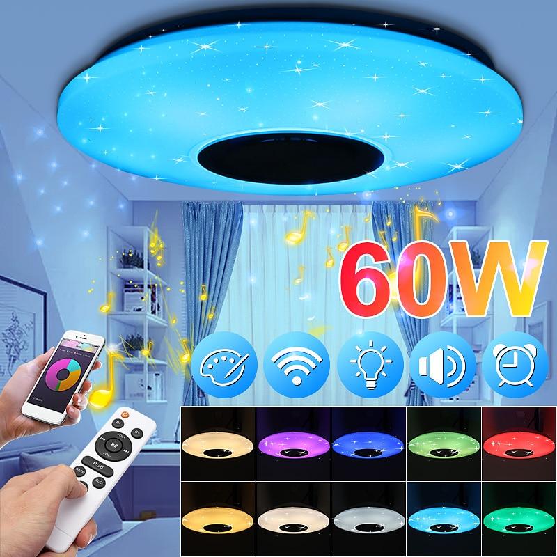 Contrebasse 60W 102LED LED bluetooth plafonniers de musique étoilé APP/télécommande gradation RGB LED bluetooth luminaires de AC180-240V de lampe