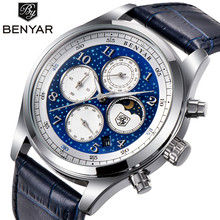 BENYAR Top Luxury Brand Moon Phase Watches Men Waterproof Chronograph Military Sports Quartz Watch Male Clock Relogio Masculino