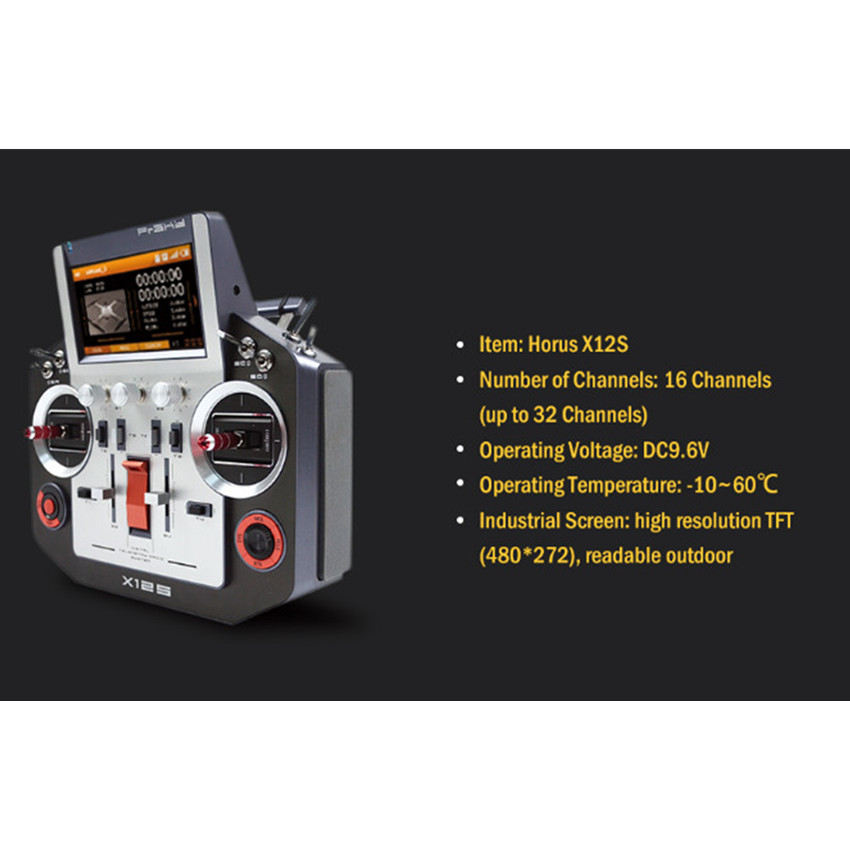 Frsky Horus X12S 16CH Remote Control with Aluminum Case Full Telemetry Real-time Data Logging Built-in GPS & 6-axis SensorsFrsky Horus X12S 16CH Remote Control with Aluminum Case Full Telemetry Real-time Data Logging Built-in GPS & 6-axis Sensors