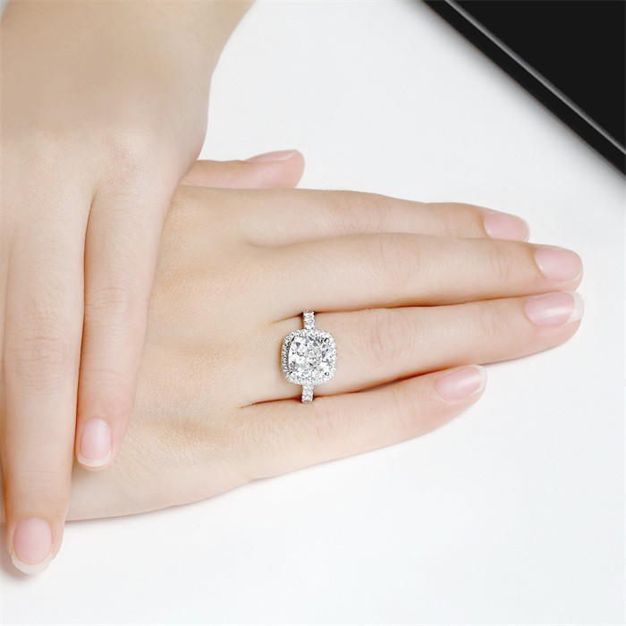 YANHUI Real 925 Sterling Silver Ring With S925 Stamp 4 Carat CZ