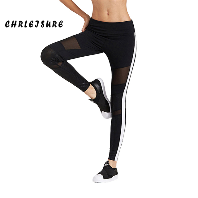 7b8bde022a2d8 CHRLEISURE Mesh Stitching Legging Women Ankle-Length Jeggings White Stripes  On The Side Elasticity Fitness Lady's Legging 2018