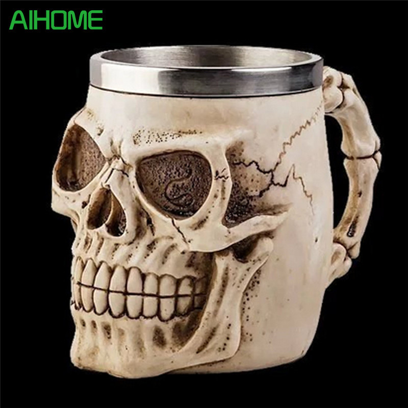 Alien Skeleton Resin Drinking Mug Cup Skull Tankard Horror Decorative Halloween Drinkware 1Piece