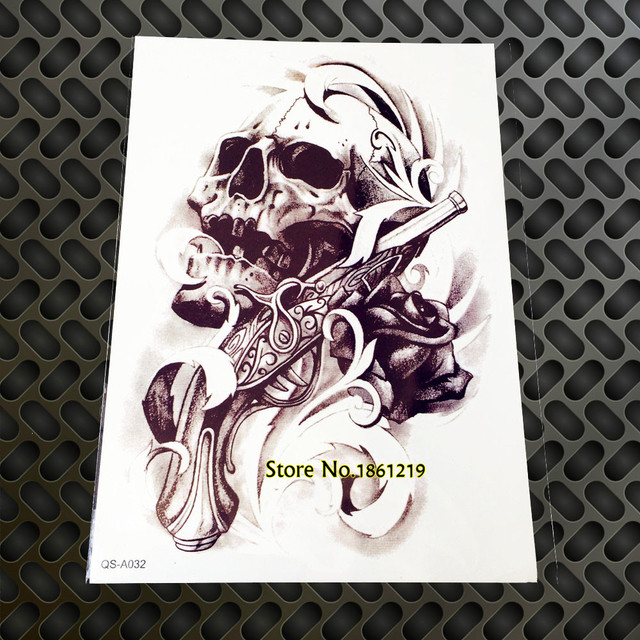 1pc Large Cool 3d Death Skull Guns And Roses Tattoo Stickers Men Gqs
