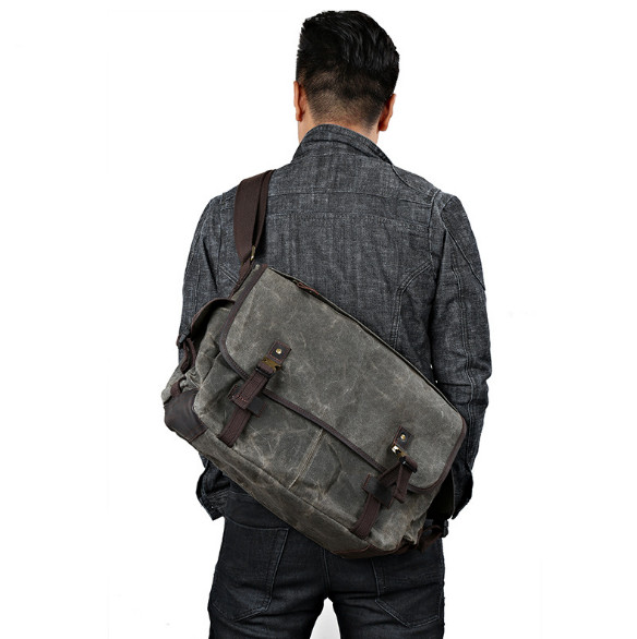 Men's Messenger bag Crazy Horseskin canvas bag oil canvas men's bag large-capacity waterproof travel Messenger bag цена 2017