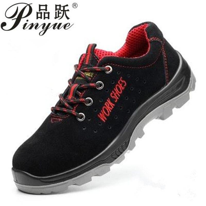 2018 Для мужчин дышащие Сталь носком безопасная обувь с проколов подошвы сопротивление скольжению свет Вес работа загрузки размер 35--50