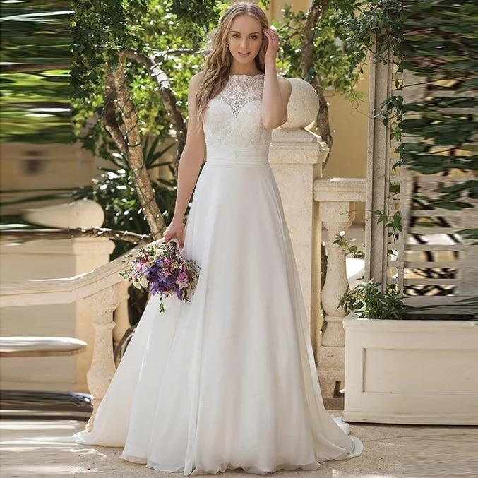 Cheap Simple Princess Boho Wedding Dress A Line Chiffon White/Ivory Appliques Vestido De Noiva Train Bridal Gown
