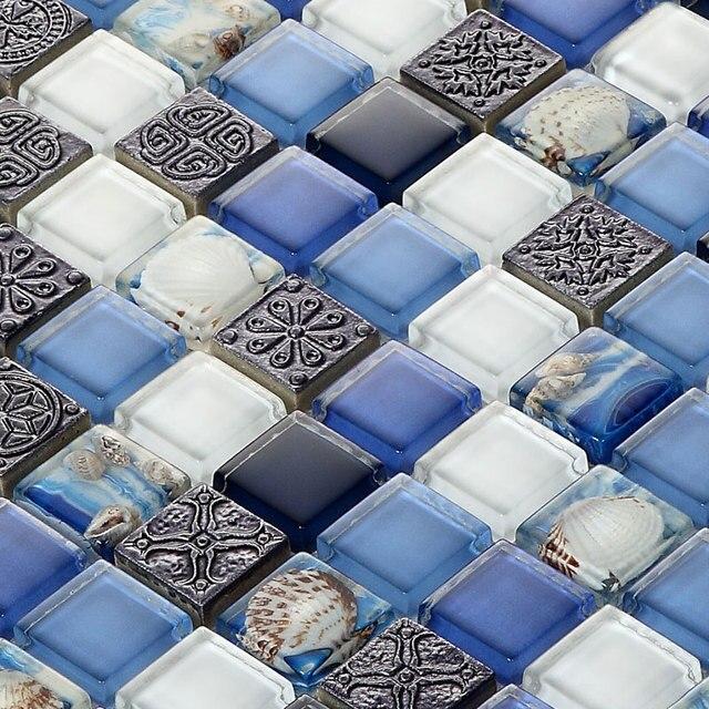 6mm Mediterraneen Gris Sea Shell Bleu Blanc Cristal Mosaique De
