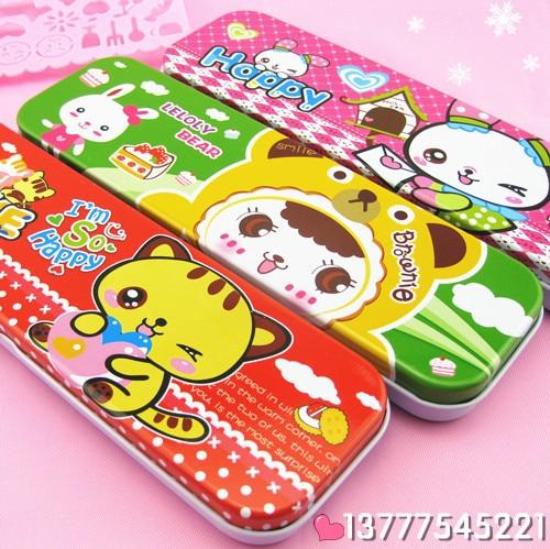 Cartoon stationery box metal double layer pencil case korea stationery pencil case 90g