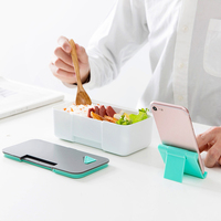 Multifunction Lunch Food Box With Mobile Phone Holder Lid Microwave Food Grade PP Bento Cases Student Dinner Food Container 1pc
