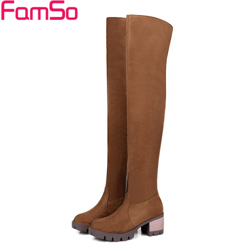 FAMSO 2017 Big Size 34-43 Shoes Women Boots High Heels Autumn Motorcycle Boots Winter Thigh High Boots For Women's Outwear Shoe чайник bohmann bh 9949