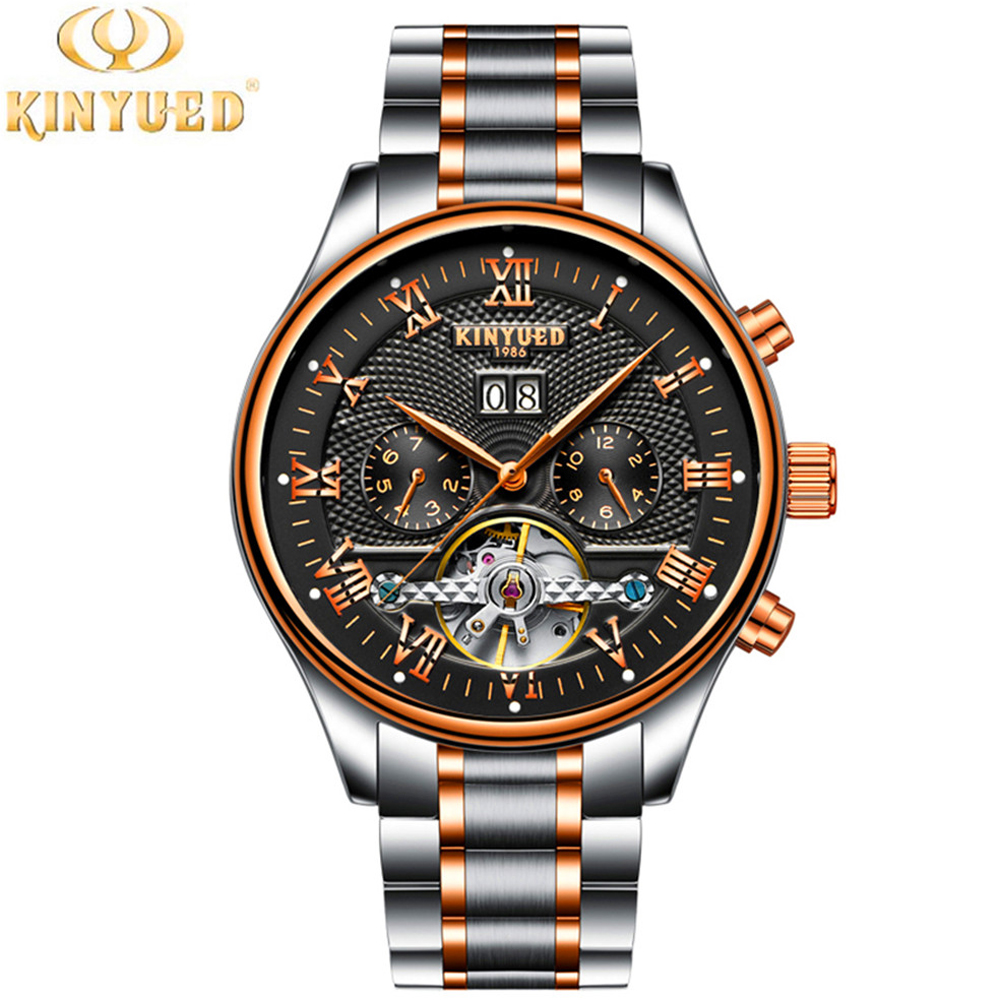 Mens Watches Top Brand Luxury KINYUED Fashion Tourbillon Clock Men Sport Watch Automatic Mechanical Watches Relogio Masculino