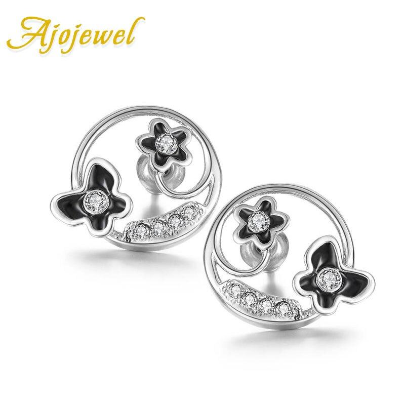 Ajojewel Black Enamel Butterflry Flower Cute Stud Earrings For Women Fashion Womens Simple Earings Jewelry Wholesale