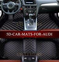 Leather Car floor mats for Audi A1 A3 A4 A6 A7 A8 Q3 Q5 Q7 TT 3D custom fit car all weather carpet floor liners foot mats paspas