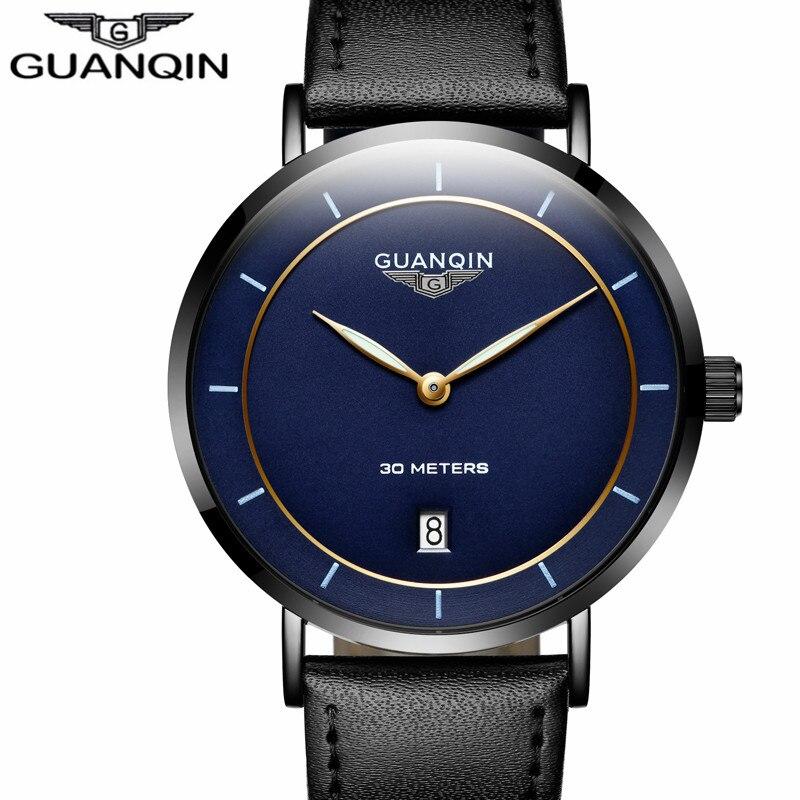 GUANQIN для мужчин s часы лучший бренд класса люкс простой дизайн ультра тонкий кварц-часы для мужчин повседневное кожа мужской часы relogio masculino