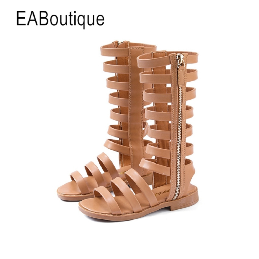 05d2efe3cb5d EABoutique Newest Fashion Nice PU Fabric With Zipper Kids Girls Sandals  Retro Knee High Gladiator Sandals ...