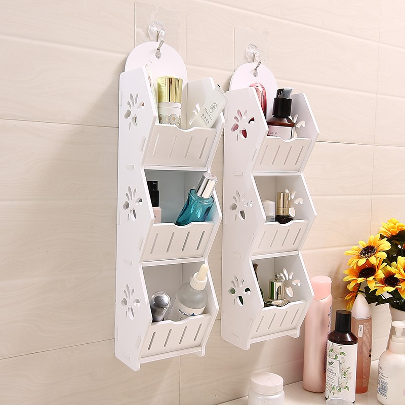 Creative Hanging Storage Holders Wood-Plastic Board DIY Removable Bathroom Rack Multi-function Practical Wall Decoration Shelves