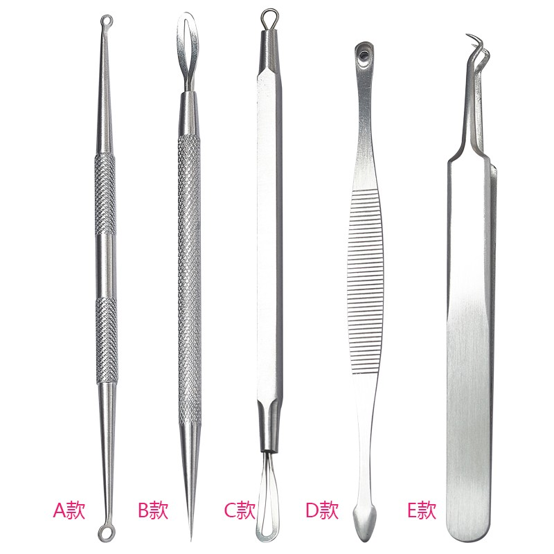 5Pc/set Stainless Steel Blackhead And Blemish Romover kit Ance Removal Needle Face Care Tool MS27 12