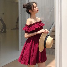 Sleeve Solid Off Shoulder Evening Casual Party Cotton Mini Dresse Women One Pieces Short Butterfly A-Line