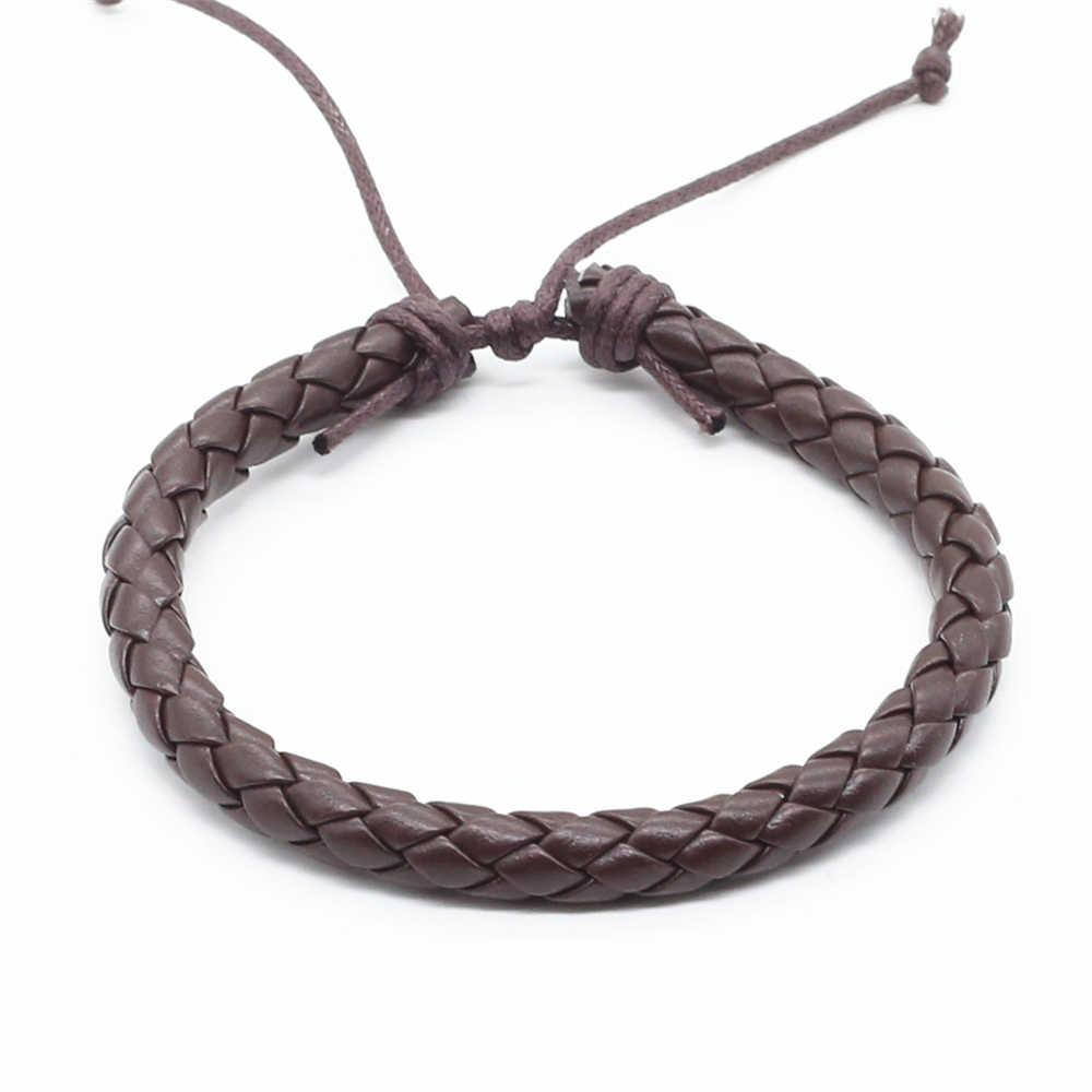 Новое поступление повседневные винтажные панк коричневые черные плетеные веревки ручной работы мужские браслеты из искусственной кожи для женщин Homme мужские ювелирные аксессуары