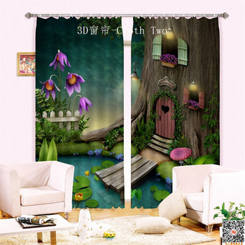 2017 tree house 3D Blackout Window Curtains For Living room Bedding room Hotel/Office Curtain Drapes Cortinas para sala