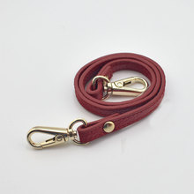 120cm Genuine Leather Bags Strap Detachable Handle Handmade Replacement Women Shoulder Bag Accessories Gold Buckle Belts Red