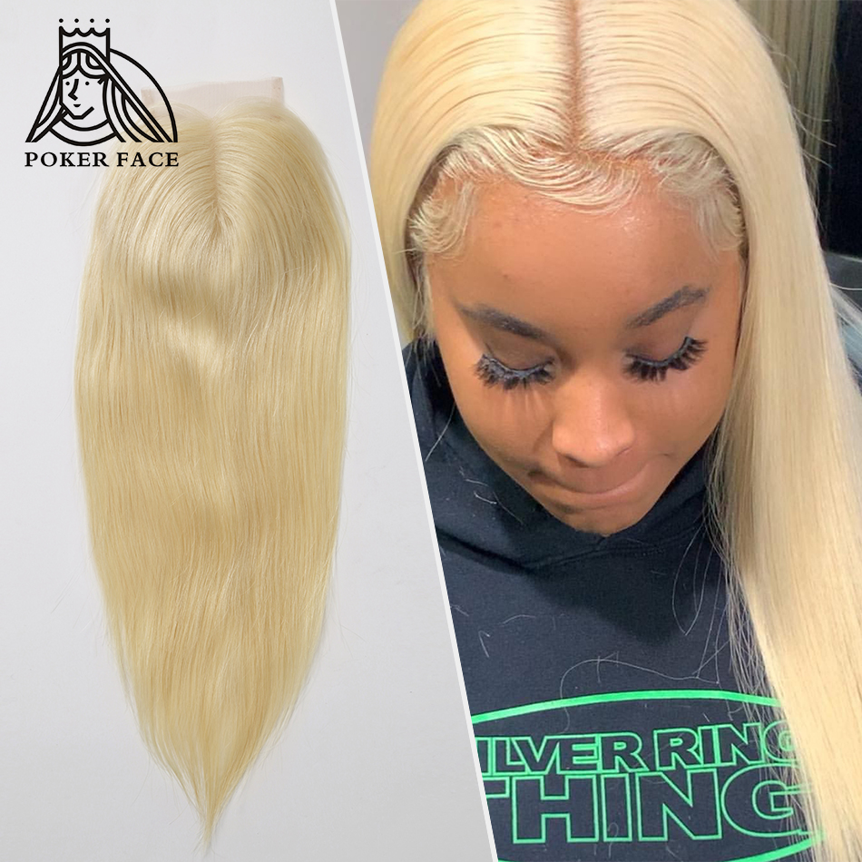 Poker Face Straight 4x4 Lace Closure Peruvian Remy Human Hair 613 Blonde Swiss Lace Closure Free Shipping