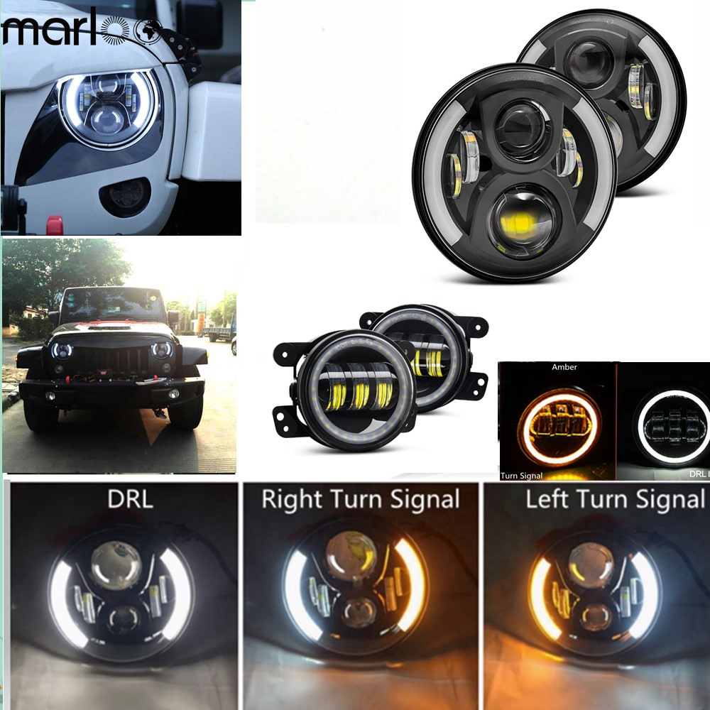 Marloo For 2007-2017 Jeep Wrangler JK LED 7 Inch Headlights With 4inch White DRL Amber Turn Signal Halo LED Fog Lights Combo Kit combo for 2007 2015 jeep wrangler smoke lens amber led front turn signal light fender side marker parking lamp