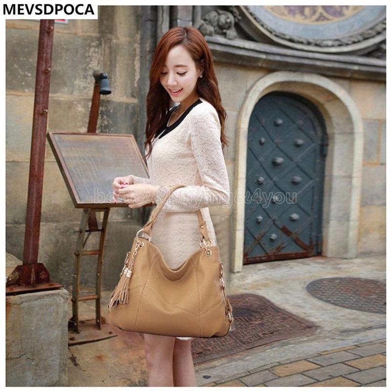 MEVSDPOCA Real Leather Tassel Handbag Women Messenger Bag Handbags Shoulder Crossbody Bags