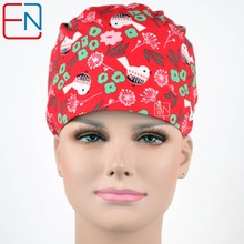Hennar WOMEN surgical caps IN red with flowers 1005 COTTON