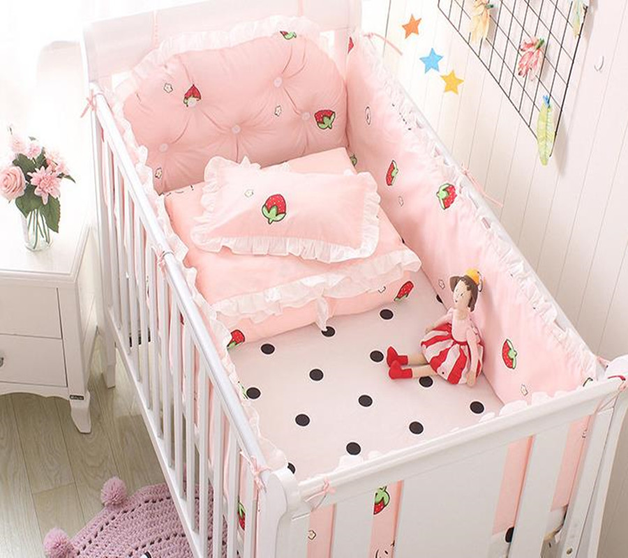 5Pcs Baby Bedding Set Bumper 100% Cotton Cartoon Ruffle Crib Kit Newborn Bedding Washable Cot Bumper Infant Sheet Baby Bed Set цена