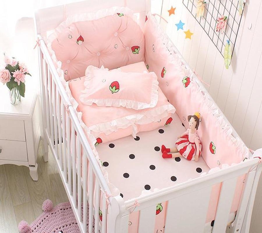 5Pcs Baby Bedding Set Bumper 100% Cotton Cartoon Ruffle Crib Kit Newborn Bedding Washable Cot Bumper Infant Sheet Baby Bed Set ruffle trim sheet set