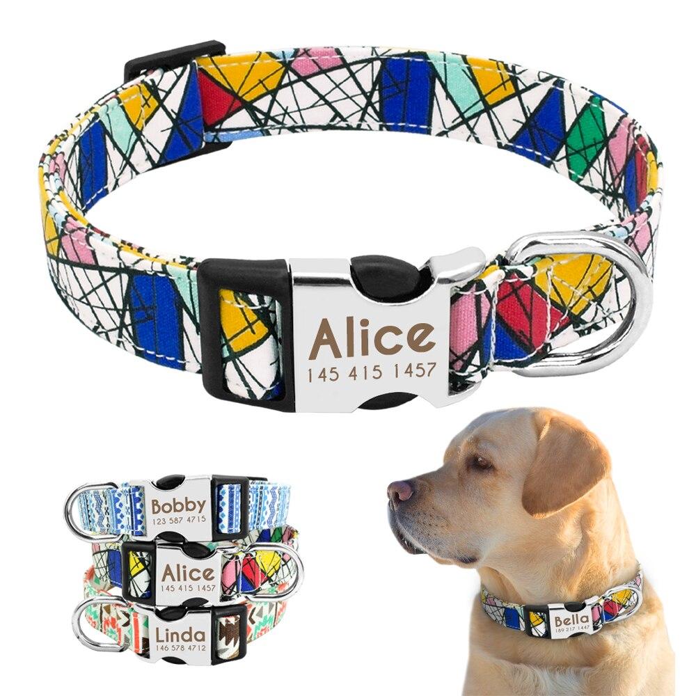 Collar de perro personalizado Nylon personalizado mascota ID etiqueta Colllar grabado placa de identificación cachorro perros collares mascotas accesorios para Beagle