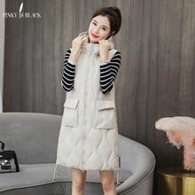 PinkyIsBlack 2019 Women Winter Vest Waistcoat New Long Sleeveless Jacket Hooded Down Cotton Warm Pockets Female