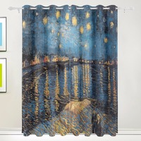 100% Polyester Famous Van Gogh Starry Night Blackout Curtain for Children Living Room Bedroom Kids Fabric Rideaux