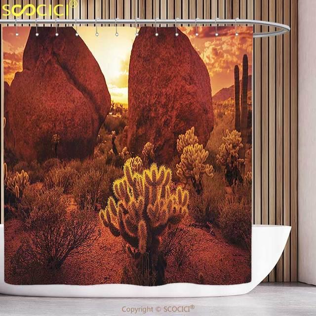 Elegante cortina de la ducha saguaro cactus decoración espectacular ...