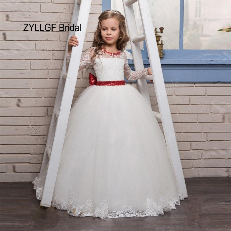 ZYLLGF Bridal Latest Vintage   Flower     Girl     Dresses   Long Sleeves Appliqued Ivory Puffy Pageant   Dresses   With Back Bow FP22