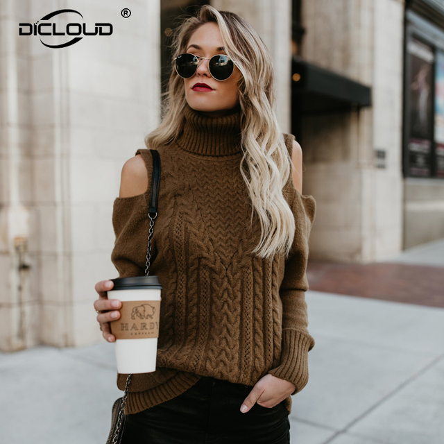 4328a8c1d53 Ins Chic Brown Cold Shoulder Sweaters Women Autumn Fashion Turtleneck Thick  Pullovers Knitted Jumpers Casual Pull