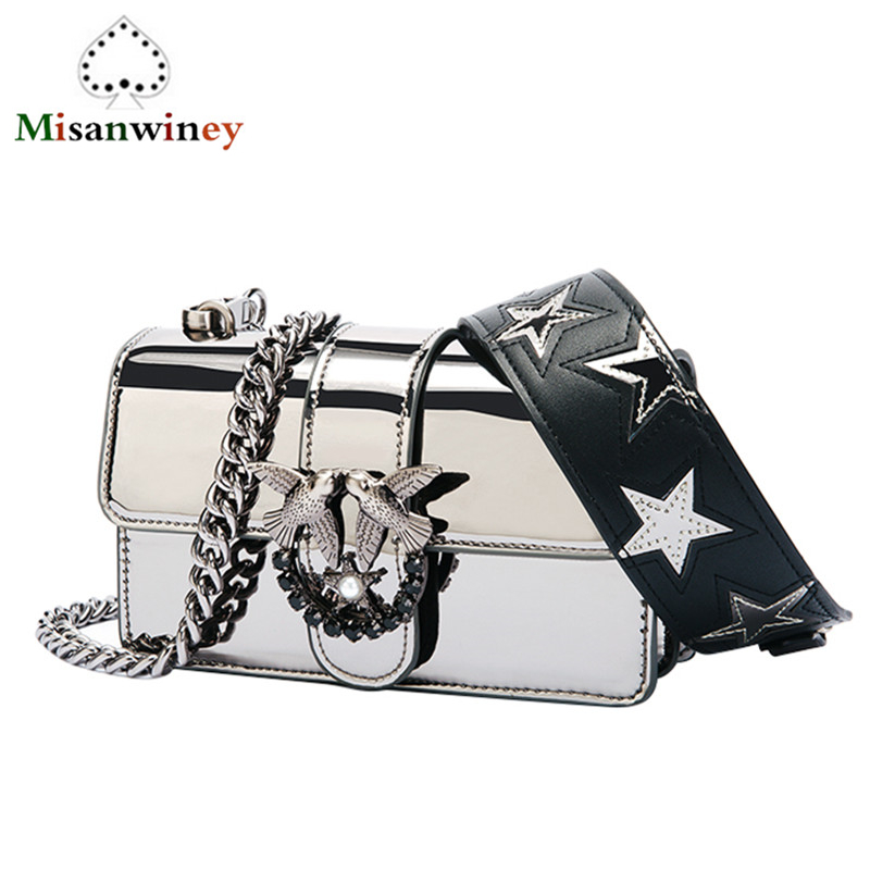 2018 Newest Fashion Swallow Messenger Bag Famous Brand Bag Pearl Women Handbag Rivet Diamond Chains Shoulder Bag Famous Designer 2016 spring newest vintage women handbag fashion skull rivet women s one shoulder messenger bag