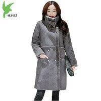 New Winter women Imitation Deerskin Jacket Fashion Thicker Flocking Lamb Fur Casual Costume Plus Size Slim Warm Coat OKXGNZ A889