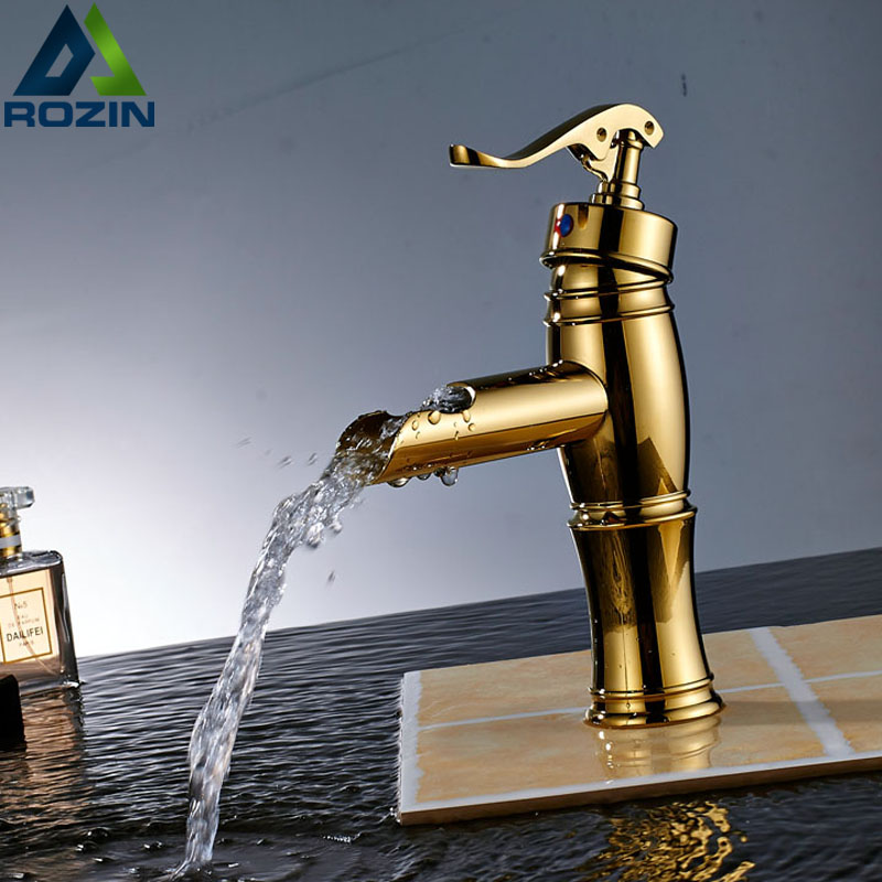 Free Shipping Brass Golden Washing Basin Taps Single Handle Waterfall One Handle Bathroom Vessel Sink Mixer Faucet antique brass and golden bathroom washing basin faucet single handle brass short vanity sink mixer taps